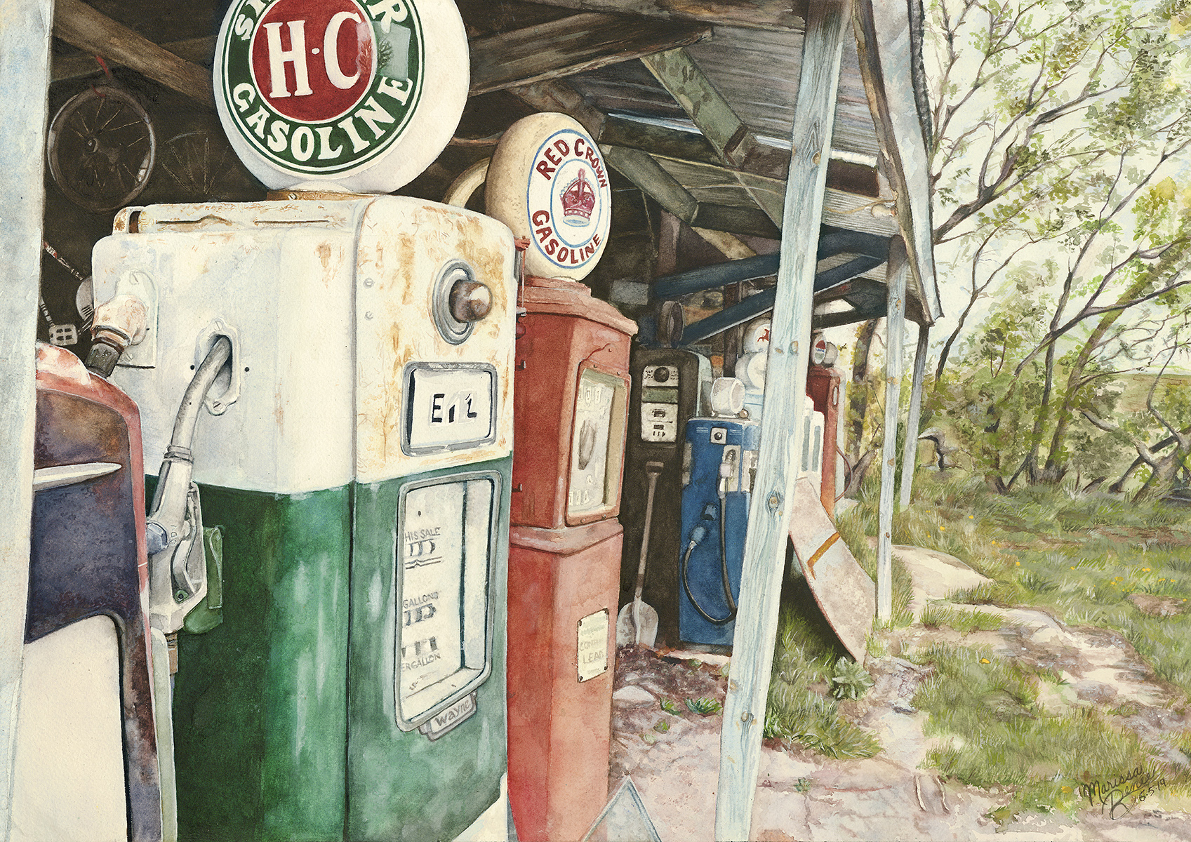 """Gas Pumps"" Print - Somerset Velvet Watercolor Paper"